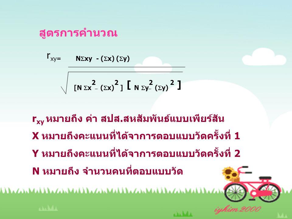 สูตรการคำนวณ rxy= Nxy - (x) (y) [N x2 (x)2 ] [ N y2 (y) 2 ]